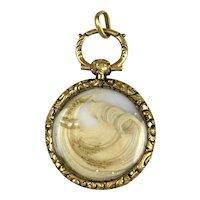 Victorian 14K Gold Artistic Hair Work Locket Pendant