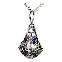 Sparkling Art Deco Platinum Diamond Sapphire Pendant