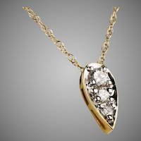 Art Deco 14K Gold Teardrop Diamond Pendant