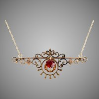 Victorian 14K Rose Gold Red Stone Pendant Necklace