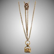 Antique Victorian Heavy Gold Watch Chain Necklace with Slide  Large Intaglio Citrine Seal  Dog  RARE