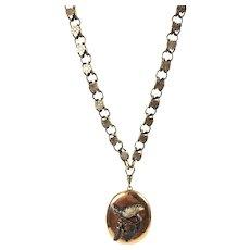 Antique Victorian 14K Rose Gold Book Chain  Necklace Pendant   Large Locket  Bird  RARE