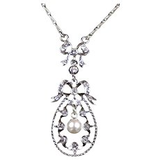 Victorian Pearl & Paste Sterling Silver Pendant Necklace