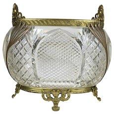 Elegant Antique Heavy Cut Crystal Bowl Ormolu Mounts