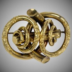 Exceptional Victorian 18K Love Knot Brooch