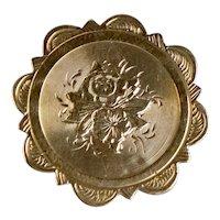 English Victorian 15K Gold Engraved Pendant Pin