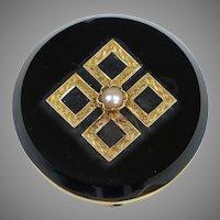 Victorian 14K Gold Black Onyx Watch Pin Brooch