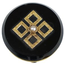Victorian 14K Gold Black Onyx Watch Pin Brooch