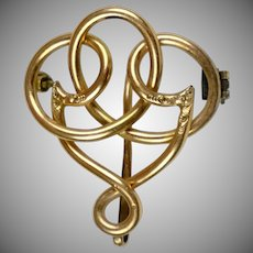 Art Nouveau 14K Rose Gold Watch Pin with Hook