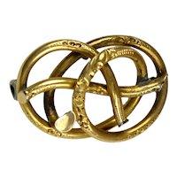 Romantic Antique 18K Gold Love Knot Brooch