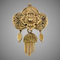 Victorian 14K Gold Brooch with Tassel