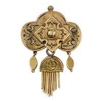 Victorian 14K Gold Pendant Brooch with Tassel