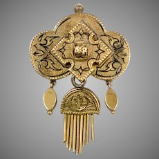 Victorian 14K Gold Pendant Brooch with Tassel