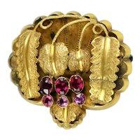 Antique Victorian 14K Gold Garnets Brooch