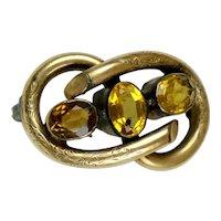 Mini English Victorian 15Ct Gold Love Knot Brooch