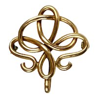Large Art Nouveau 14K Rose Gold Watch Pin with Hook
