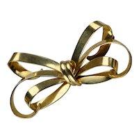 Retro Rose Gold Bow Pin Brooch By Forstner