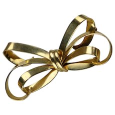 Retro Rose Gold Bow Pin Brooch By Forstner