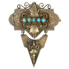 Victorian Rose Gold Turquoise Brooch Pin