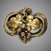 Antique Victorian Gold Garnets Nature Brooch Pin