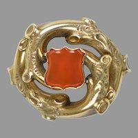 English Victorian Gold Carnelian Shield Brooch