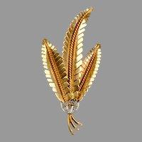 Retro 18K Rose Gold Diamond Ferns Pin Brooch