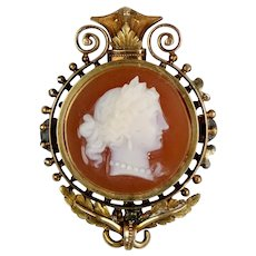 Victorian 14K Rose Gold Hard Stone Cameo Brooch