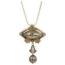 Smashing Victorian 14K Rose Gold Enamel Pendant Brooch