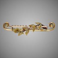 Unique Victorian 14K Rose Gold Diamond Bar Pin