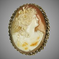 14K Shell Cameo Seed Pearl Pin Pendant
