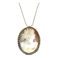Large 1930s 14K Gold Cameo Seed Pearl Pendant Pin