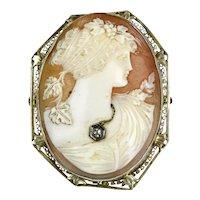 1930s 14K Gold Shell Cameo Diamond Jewel Pendant Pin