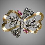 Retro 18K Rose Gold Diamond Ruby Bow Pin Brooch