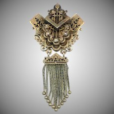 Victorian 14K Rose Gold Brooch with Tassels