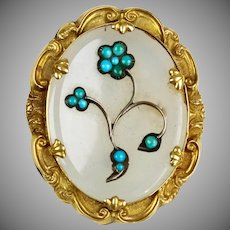Victorian 14K Gold Chalcedony Turquoise Flowers Brooch