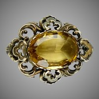 Victorian Gold Citrine in Scalloped Frame Brooch - A Beauty!