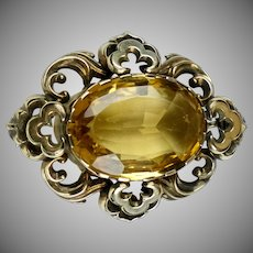 Victorian Gold Citrine Brooch