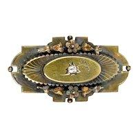 Victorian 14K Gold Diamond Brooch Pin