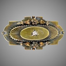 Victorian 14K Gold Diamond Brooch Pin