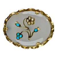Victorian 14K Gold Chalcedony Turquoise Pearl Brooch