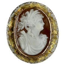 Victorian 14K Yellow Gold Shell Cameo Pin Pendant