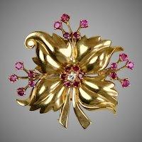 Retro 14K Rose Gold Diamond Ruby Flower Pin