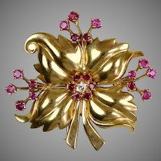 Retro 14K Rose Gold Diamond Ruby Flower Pin