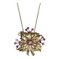 Gorgeous 1940s 14K Gold Diamond Ruby Flower Pendant Pin