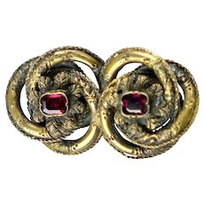 English Victorian Gold Garnet Pin Brooch