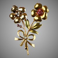 French Retro 18K Gold Diamond Ruby Flowers Pin