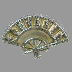 Pretty Victorian Figural Fan Souvenir Brooch