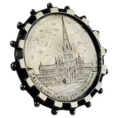 English Victorian Sterling Salisbury Cathedral Brooch