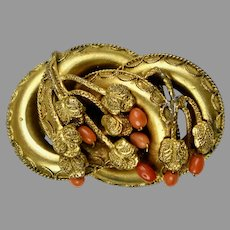 Large English Etruscan Revival Coral Brooch