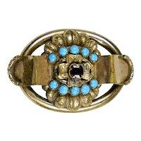 Victorian Gold Garnet Turquoise Brooch Pin